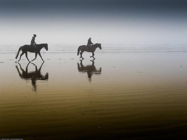 Horse Back Riders reflected in the sand of a California Beach