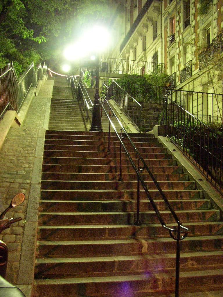 Stairway near Sacre Coeur in Montmartre at night time