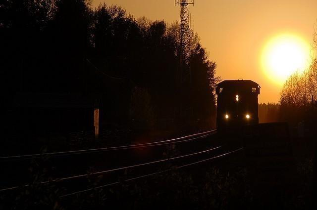 Evening Train passing through Fort Langley BC