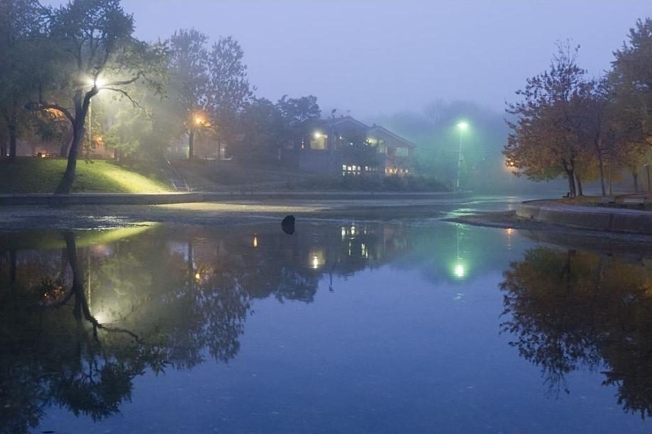 A foggy evening in Parc-Lafontaine, Montreal